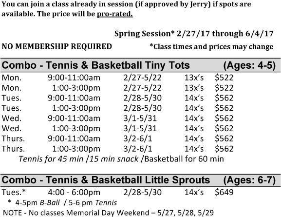 Tots Basketball and Tennis Combo Class Schedule